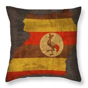 Uganda Country Flag Map Throw Pillow