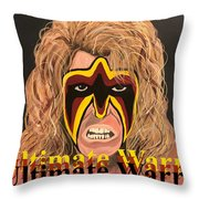 Ultimate Warrior Writing Version Throw Pillow