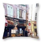Un Artiste A La Place Du Tertre Paris. Throw Pillow