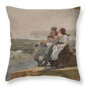 Under The Cliff, Cullercoats , 1881 Throw Pillow