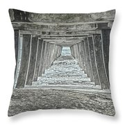 Under The Tybee Island Pier Throw Pillow by Judy Hall-Folde