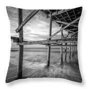 Uner The Pier In Black And White Throw Pillow