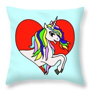 Unicorn In The Heart On Baby Blue Kids Room Decor Throw Pillow