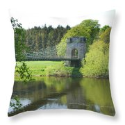 Union Chain Bridge At Horncliffe On River Tweed Throw Pillow