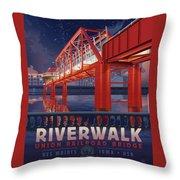 Union Railroad Bridge - Riverwalk Throw Pillow by Clint Hansen
