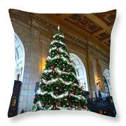 Union Station Decorates For Christmas In Kansas City Throw Pillow
