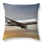 United Express Bombardier Crj-200lr Throw Pillow