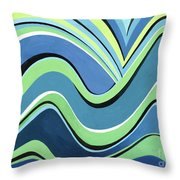 Untitled  Abstract Blue And Green Throw Pillow