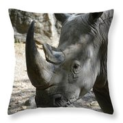 Up Close Look At The Face Of A Rhinoceros Throw Pillow