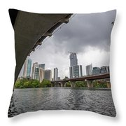 Urban Skyline Of Austin Buildings From Under Bridge With Stormy  Throw Pillow