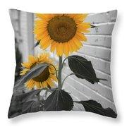 Urban Sunflower - Black And White Throw Pillow by Lora J Wilson