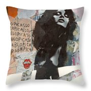 Uschi Obermaier Kommune 1 - Plakative Collage Throw Pillow