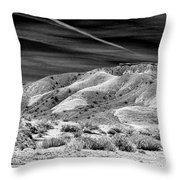 Valley Of Fire Black White Nevada  Throw Pillow
