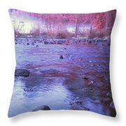 Valley River In Yosemite Throw Pillow