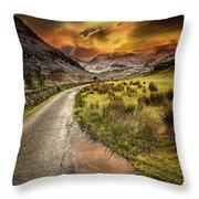 Valley Sunset Snowdonia Throw Pillow
