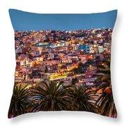 Valparaiso Illuminated At Night Throw Pillow