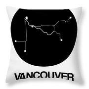 Vancouver Black Subway Map Throw Pillow