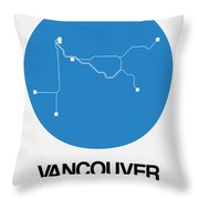 Vancouver Blue Subway Map Throw Pillow