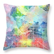Vancouver Map Watercolor Throw Pillow