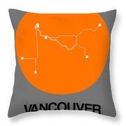 Vancouver Orange Subway Map Throw Pillow