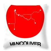 Vancouver Red Subway Map Throw Pillow