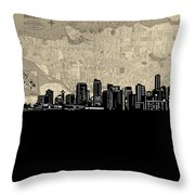 Vancouver Skyline Map Throw Pillow