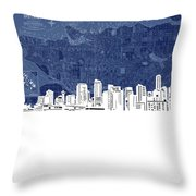 Vancouver Skyline Map Blue Throw Pillow