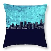 Vancouver Skyline Map Turquoise Throw Pillow