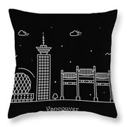 Vancouver Skyline Travel Poster Throw Pillow