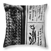 Vapo-cresolene Vaporizer Liquid Poison Bottle Black And White Throw Pillow