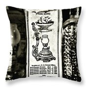 Vapo-cresolene Vaporizer Liquid Poison Original Packaging Black And White Throw Pillow