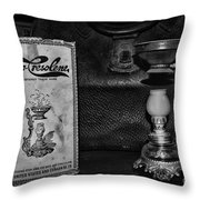 Vapo-cresolene Vaporizer Respiratory Remedy Black And White Throw Pillow