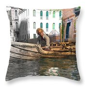 Venice Pause In The Evening Throw Pillow