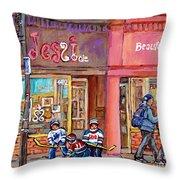 Verdun Montreal Storefront Painting Jessie Et Cie Beaute Candy Nail Shop Hockey Artist C Spandau Art Throw Pillow