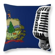 Vermont Flag And Microphone Throw Pillow