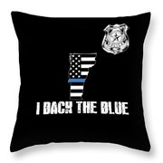 Vermont Police Appreciation Thin Blue Line I Back The Blue Throw Pillow