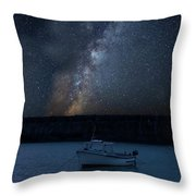 Vibrant Milky Way Composite Image Over Landscape Of Fishing Boat Throw Pillow
