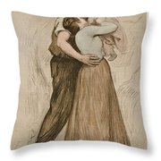 Victor Emile Prouve  French  1858   1943 The Kiss  Le Baiser  1898  Collotype On Wove Paper Throw Pillow