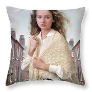Victorian Woman On A Cobbled Terraced Street Throw Pillow