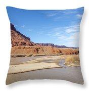 View At Sorrel River Ranch On The Colorado River Near Moab, Utah Throw Pillow