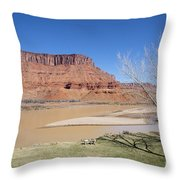 View From A Cabin At Sorrel River Ranch On The Colorado River Ne Throw Pillow