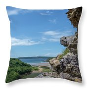 View From Pennard Castle Portrait Throw Pillow