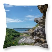 View From Pennard Castle Square Throw Pillow