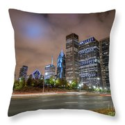 View Of Chicago Skyscrappers With Busy Street In The Foreground Throw Pillow