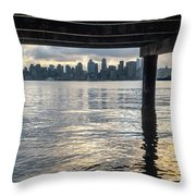 View Of Downtown Seattle At Sunset From Under A Pier Throw Pillow