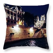 View Of Notre Dame From The Sienne River In Paris, France Throw Pillow