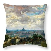 View Of Paris - Digital Remastered Edition Throw Pillow