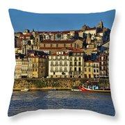 View Of Porto And Douro River Throw Pillow