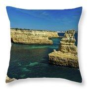 View Of Praia Deserta In Algarve Throw Pillow