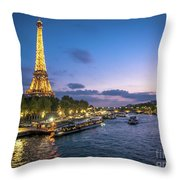 View Of The Eiffel Tower During Sunset From The Scene River Throw Pillow